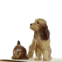 Hagen Renaker Miniature Dog Cocker Spaniel Papa and Pup Ceramic Figurine Set image 3
