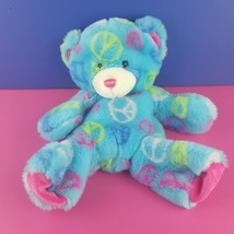 "Unstuffed Build a Bear Peace Teddy Bear Plush 15"" Blue 2010 - $12.87"