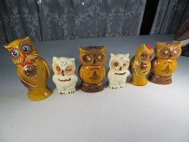 Vintage lovely collection of 6 owls ceramic figurine Texas Lone Star Sal... - $50.00
