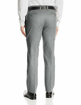 Boltini Italy Men's Flat Front Slim Fit Trousers Grey Dress Pants w/ Defect image 2