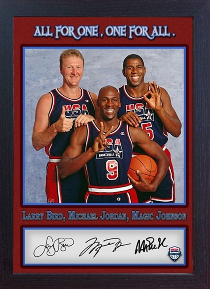 Michael Jordan Larry Bird Magic Johnson signed autograph NBA USA Olympic Framed