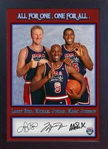 Michael Jordan Larry Bird Magic Johnson signed autograph NBA USA Olympic... - $19.27