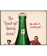 Vintage magazine ad 7 UP from 1947 large bottle and family You Like It 2... - $11.69