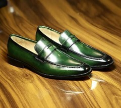 Handmade Leather Loafers For Men, Men Green Slip One's, Stylish Shoes - $144.99+