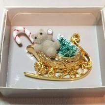Avon 1991 Santa's Sleigh Pin Brooch Gold Tone Bear Christmas Tree Candy Cane - $14.84