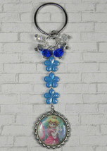 Princess Peach Flower Crystal Beaded Handmade Split Ring Keychain Blue New - $14.83
