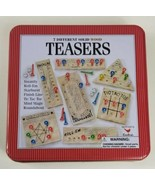 Teasers Game 7 Different Solid Wood Puzzles and Brain Teasers in Tin Box  - $13.09