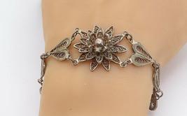 925 Sterling Silver - Vintage Filigree Flower Love Heart Chain Bracelet ... - $56.15