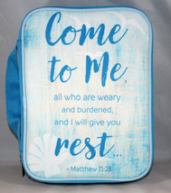 Come To Me Matthew 11:28 Sky Blue Bible Cover Large Heavy Duty - $20.03