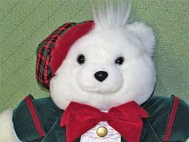 "Vintage 1993 SNOWFLAKE TEDDY Dan Dee Bear 16"" BOY Green Red Plaid Plush ... - $17.72"