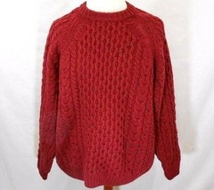 VTG Lands' End Mens XL RUST CHUNKY WOOL FISHERMANS Knit FLECKED Sweater ... - $37.46