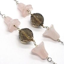 Silver necklace 925, bluebells, Flowers, Bells, ROSE QUARTZ, CHALCEDONY image 3