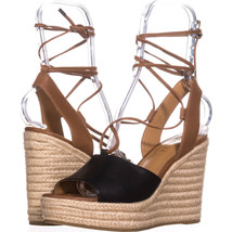 Coach Dana Espadrilles Sandals 376, Black/Saddle, 9.5 US - $87.35