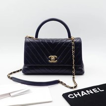 100% AUTH CHANEL CHEVRON QUILTED CALFSKIN ROYAL BLUE MEDIUM COCO HANDLE BAG GHW