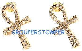Ankh Earrings New Iced Out In Crystal Rhinestones Post Egyptian Cross - $11.99