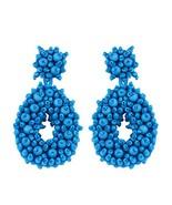 Blue Statement Beaded Dangle Earrings for Women,Handmade Fashion Bohemia... - $45.67