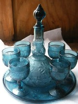 Vintage Tiara Indiana Glass Colonial 10 Pc Decanter Wine Set Bicentennia... - $99.00