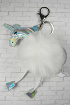 Pom Pom Unicorn Keychain Purse Charm Split Ring Lobster Claw Faux Fur Wh... - $19.39