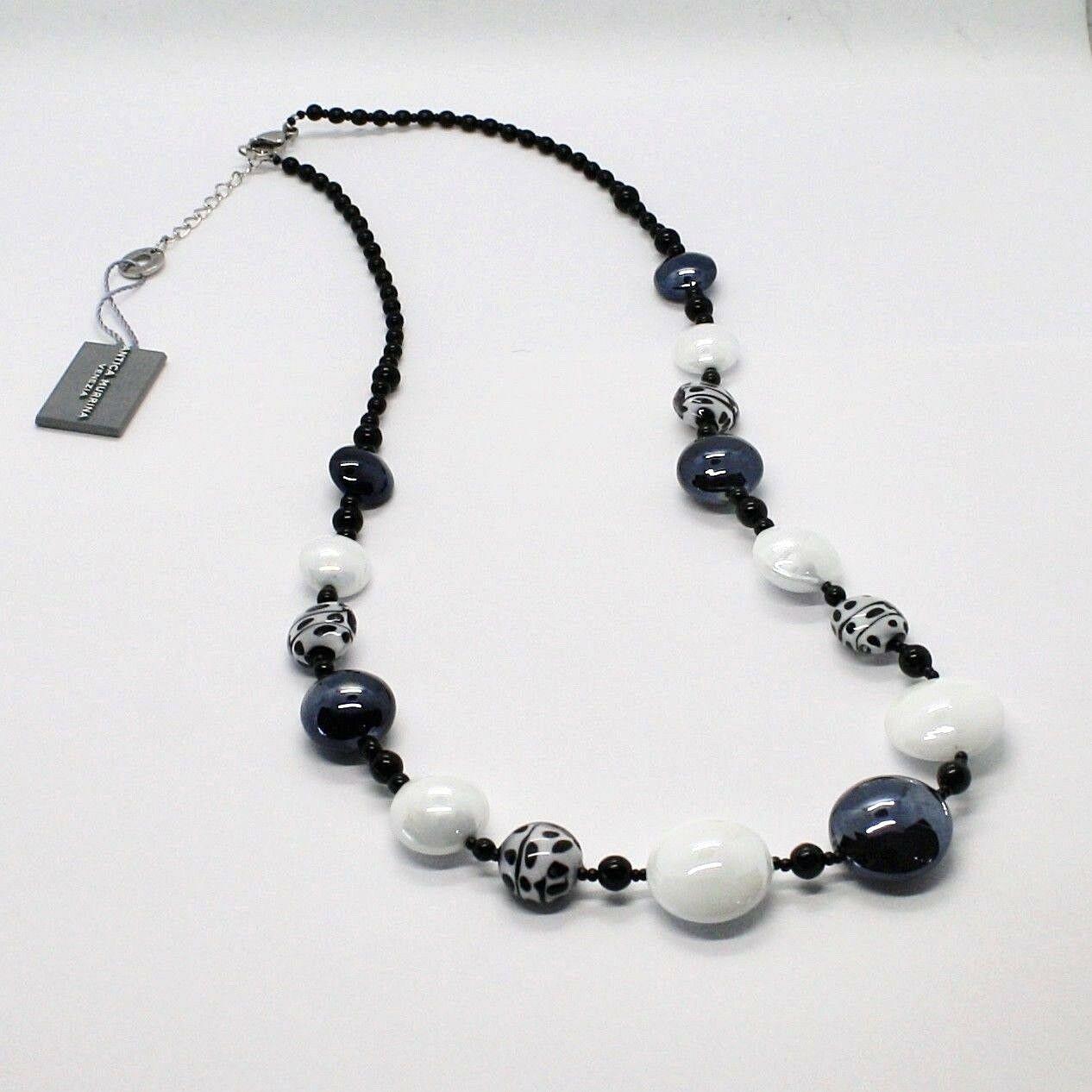 NECKLACE ANTICA MURRINA VENEZIA WITH MURANO GLASS WHITE BLACK GRAY COA38A15