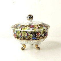 Vintage Lusterware Footed Bonbonniere Covered Dish Transferware Made in ... - $49.99
