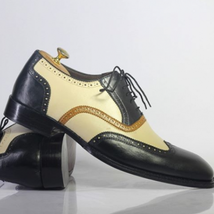 Handmade Men Black Leather Embroidered Laceup Shoes image 2