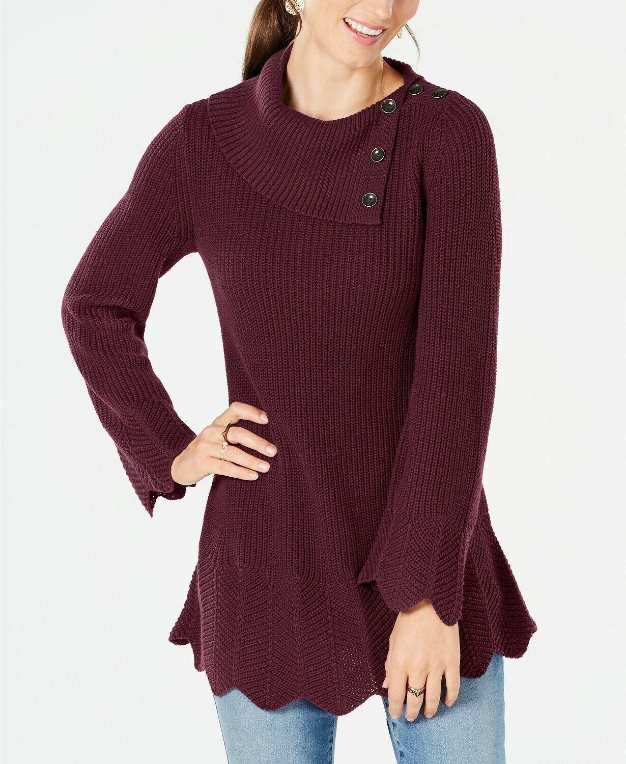 Primary image for Style & Co WOMEN'S Petites Scallop-Edge Sweater SCARLET WINE SIZE PS