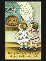 Halloween, Goblins Will Get You, Little Girls, Pumpkins, jack o lantern,... - $10.99