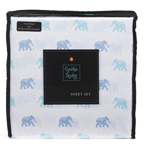 Cynthia Rowley Blue, Turquoise Elephants on White Microfiber Sheet Set Twin XL
