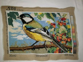 SEG de Paris Needlepoint Finished - Mesange - Beautiful Bird w/ Colorful... - $44.50