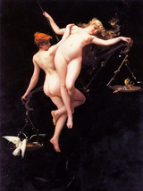 Oil painting luis ricardo falero the balance of the zodiac nude girl han... - $36.27