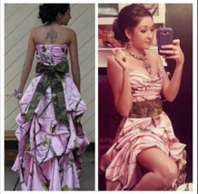 Elegant A-Line Camo Wedding Dress Formal Pink Camouflage Bow Bridal Gown... - $62.28+