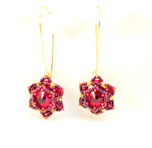 Swarovski Earrings Red Berries Ruby Earrings Crystal Earrings Dangle Mod... - $16.00