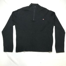 Vintage Ralph Lauren Polo Jeans 1/4 Zip Sweater Mens 2XL Black Ribbed Fl... - $18.69