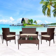 4 PC Patio Rattan Set Wicker Furniture Conversation Sofa Sectional Loves... - $219.99