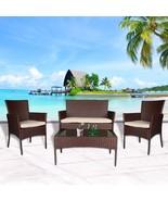 4 PC Patio Rattan Set Wicker Furniture Conversation Sofa Sectional Loves... - $199.99
