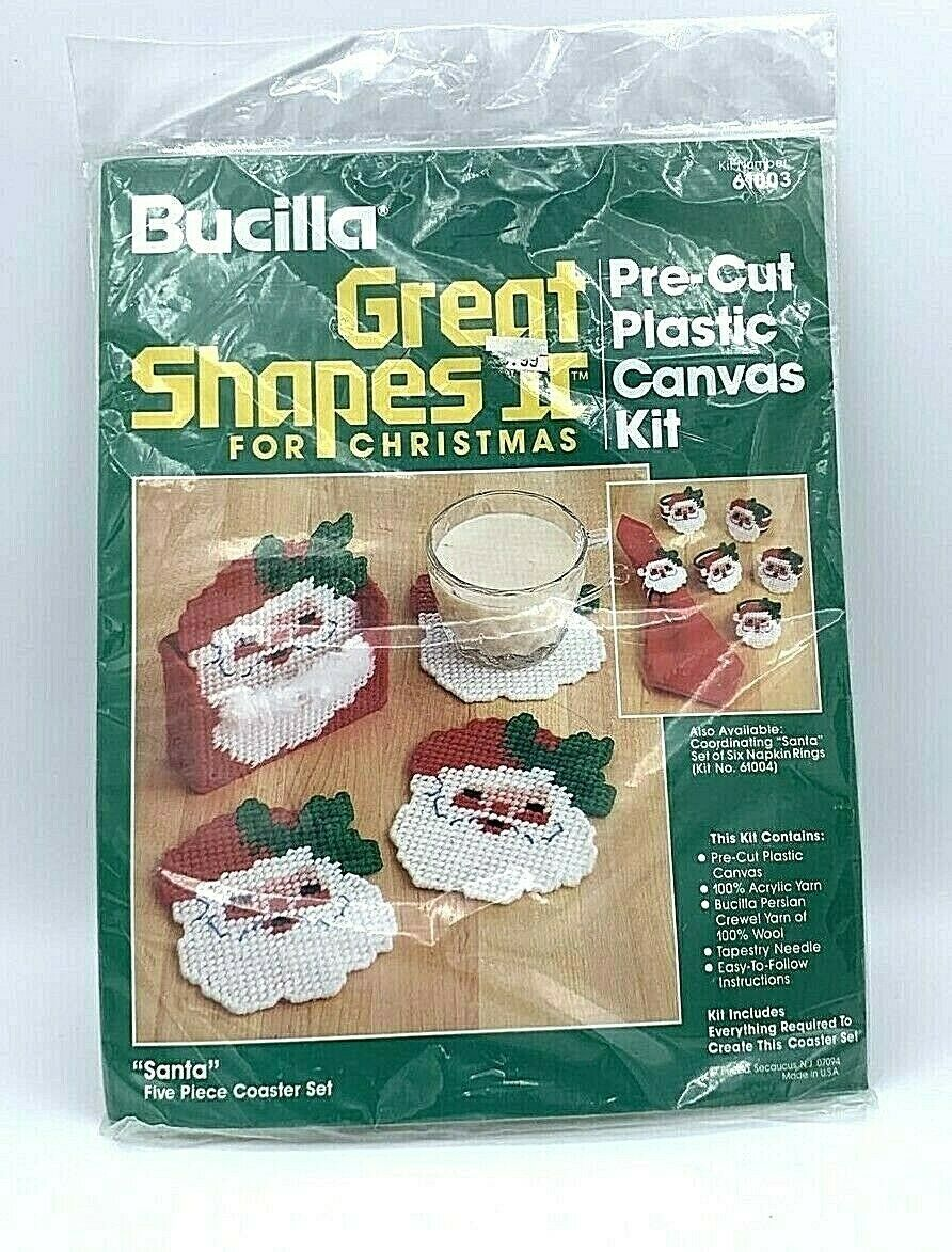 Primary image for Bucilla Plastic Canvas Kit Santa Coaster Holder 5 Pc Set Christmas Great Shapes