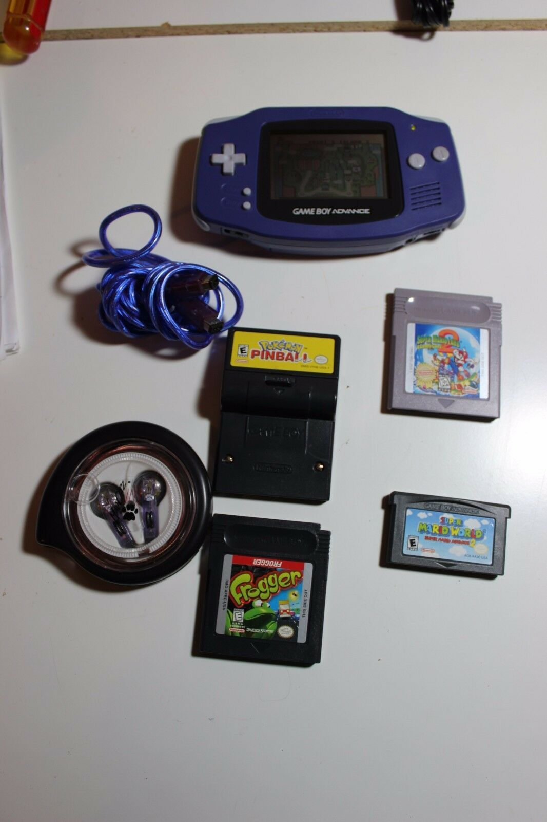 Nintendo GameBoy Advance Blue w mario land world Pokemon frogger games headphone
