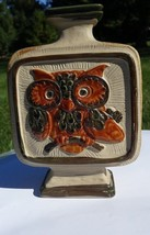 Owl vase Square Pottery Ceramic Green Brown handpainted 8 in tall - $19.00