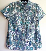 NWT Tommy Hilfiger Women`s Button Paisley Shirt M Short Sleeve Cotton Blouse New - $39.99