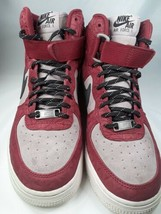 Nike Womens Air Force Hi PRM Suede Red/Black-Plum Fog/White US Size 7  - $69.30