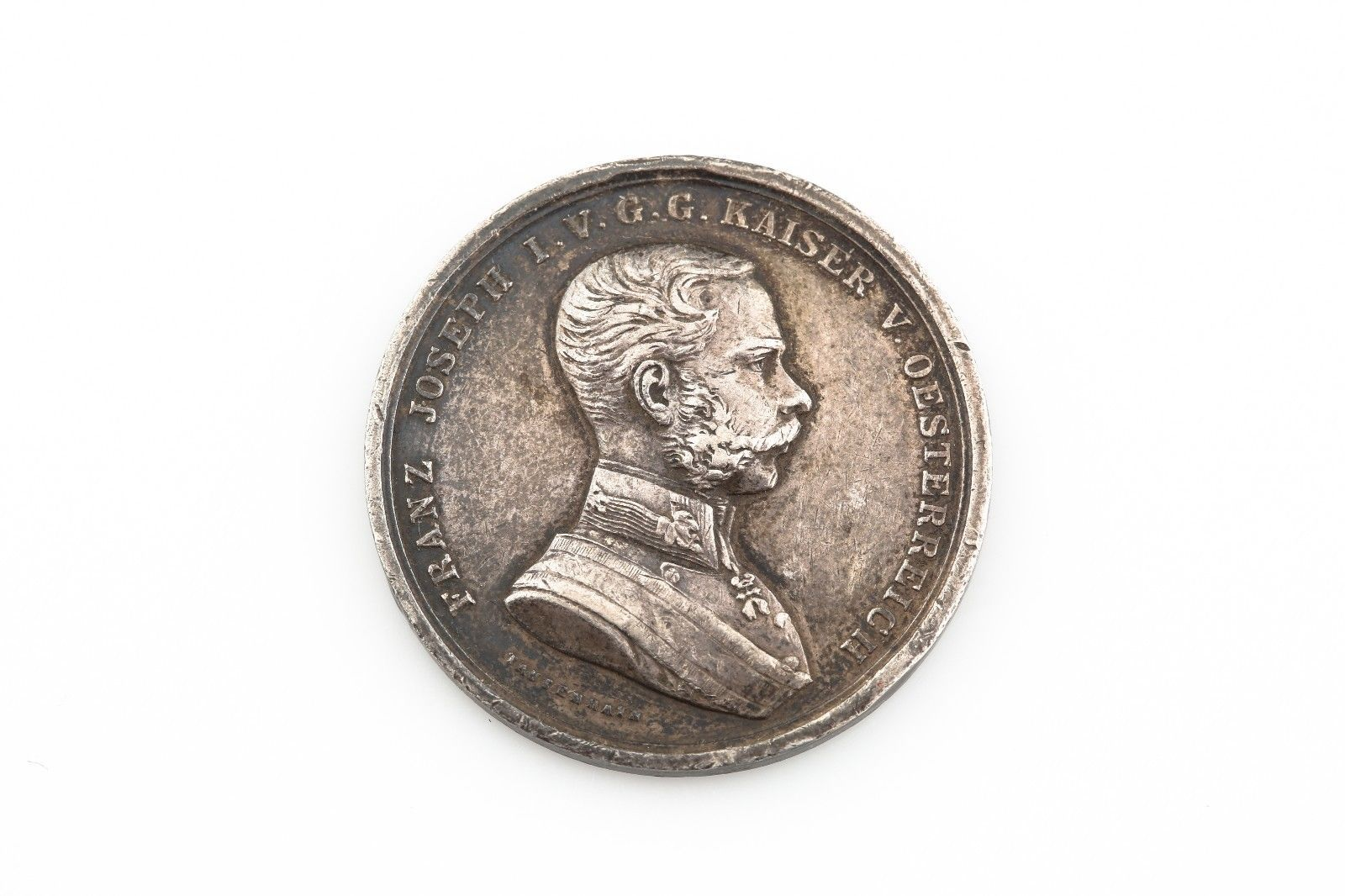 1870-1880 Austria Silver Medal Award for Bravery XF High Relief Der Tapferkeit - $64.35