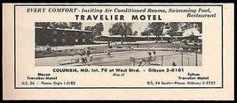 Travelier Motel Ad Columbia Missouri 1964 AC Pool Roadside Photo Ad Travel - $10.99