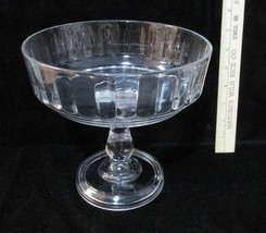 Vintage Compote Fruit Serving Dish Clear Glass Pedestal Footed Ribbed Side  - $16.82