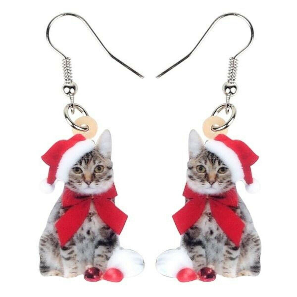 Red Acrylic Christmas Kitten Earrings - One Pair with Random Design and Color