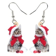 Red Acrylic Christmas Kitten Earrings - One Pair with Random Design and Color image 1
