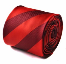 Frederick Thomas Maroon and Red barber striped mens tie FT1725