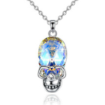 Sterling Silver Mini Skull Womens Necklace Set - $8.81