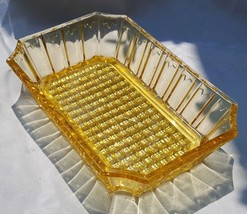 Yellow Depression Glass Side Lines And Cane Bottom Bread Tray - $30.00
