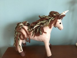 Felted Wool Yarn Unicorn Horse Wool Art Sculpture 11 inches new with tag - $44.55