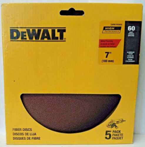 """Dewalt DARB1K0605 7"""" 60 Grit Aluminum Oxide Fiber Resin Sanding Discs 5 Pack - $3.96"""